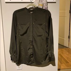 Michael Kors Military faux Silk Blouse Olive Green